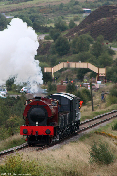 RSH 0-6-0ST (7169/1944) climbs to Whistle Inn with a demonstration freight on 19th September 2010.