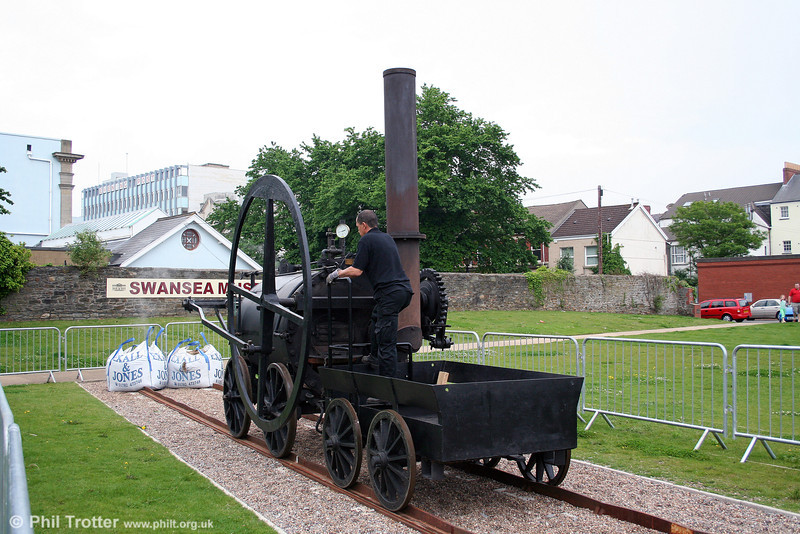 Viewed from the other side, the Penydarren locomotive's 8 foot flywheel can be seen here. This land was formerly the site of Burrows Lodge Goods Yard. 31st May 2008.