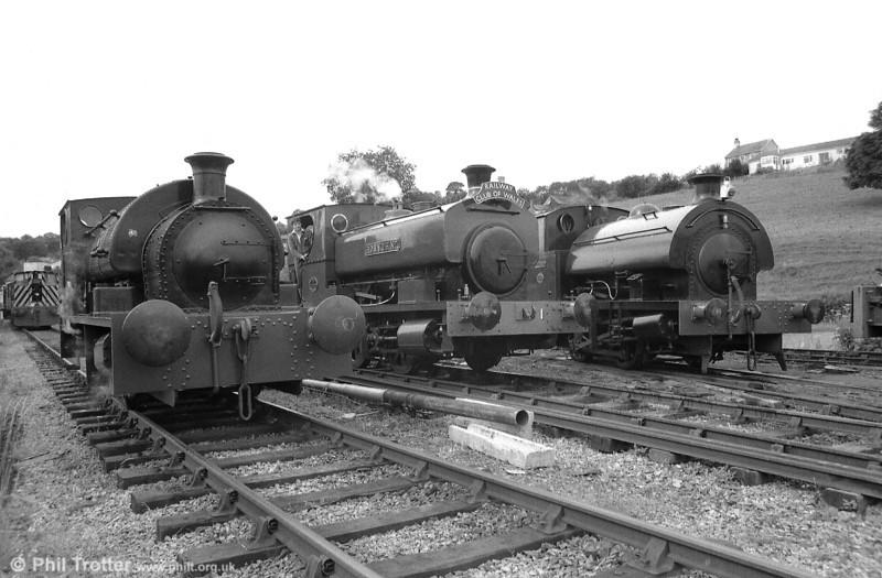'Merlin/Myrddin', 'Rosyth No. 1' and 'Olwen' line up at Bronwydd Arms, Gwili Railway on 18th July 1987.