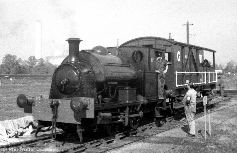 A reminder of early days at Didcot. RSH (7544/1949) 0-4-0ST No. 1 'Bonnie Prince Charlie' hauling brakevan rides at the GWS Steam Centre during the early 1970s.