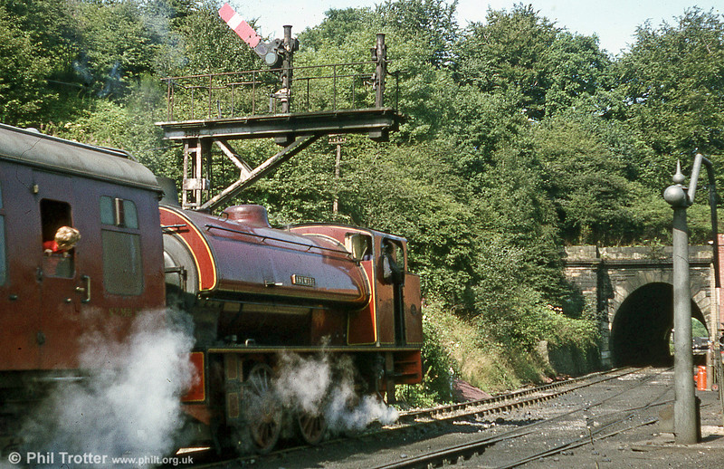 'Austerity' 0-6-0ST no. 3180 'Antwerp' of 1944 approaches Grosmont, North Yorkshire Moors Railway.