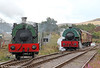 Peckett 0-6-0ST (1859/1932) 'Sir Gomer' and 2150/1954 'Mardy Monster' at Furnace Sidings, P&BR on 17th September 2011.