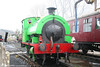 RSH 0-4-0ST (no.7058/1942) 'Olwen' on 'driver for a fiver' duty at Bronwydd Arms, Gwili Railway on 5th April 2008. The somewhat bilious shade of green is explained by 'Olwen' having an alter ego as 'Percy' during Thomas weekends.