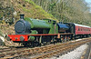 Former Mountain Ash Hudswell Clarke (1885/1955) 0-6-0ST and Hunslet 0-6-0ST (3840/1956) cosmetically restored at Llwyfan Cerrig, Gwili Railway.