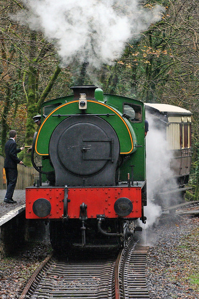 The token is handed over as Austerity 0-6-0ST 'Haulwen' arrives at Llwyfan Cerrig with the miners' train from Danycoed on 25th October 2008.
