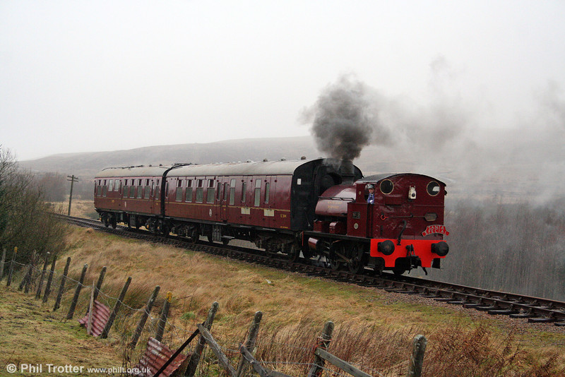 Bagnall 0-4-0ST No. 19 drifts down the bank from Whistle Inn on 20th December 2008.