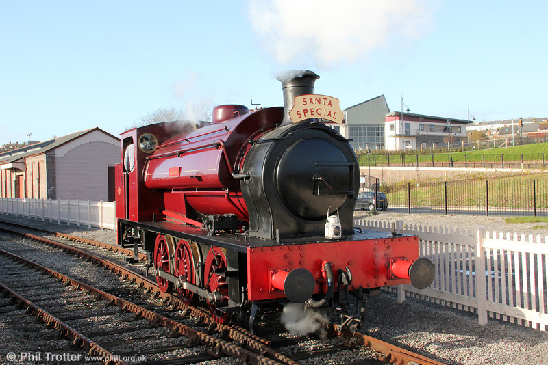 Hunslet (1873/1937) 0-6-0ST 'Jessie' runs around its train at Hood Road, Barry during a Santa Special steaming on 3rd December 2011. The type was a forerunner of the familiar Hunslet 'Austerity' 0-6-0STs.