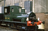 1857 George England and Co. 0-4-0WT no. 5 'Shannon/Jane' outside the loco shed at Didcot.