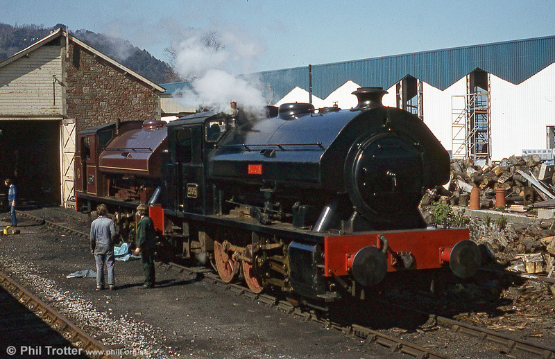 W.G. Bagnall 0-6-0ST no. 2994/1950 'Vulcan' and sister no. 2996 'Victor' on shed at Minehead.