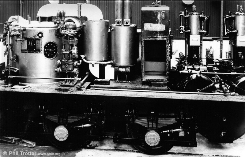 The inside of a 200hp, Sentinel which is similar, but not identical, to no. 9622. The vertical boiler is to the left and next to it the water pump. The cylinders are to the right. (Photo courtesy The Sentinel Trust).