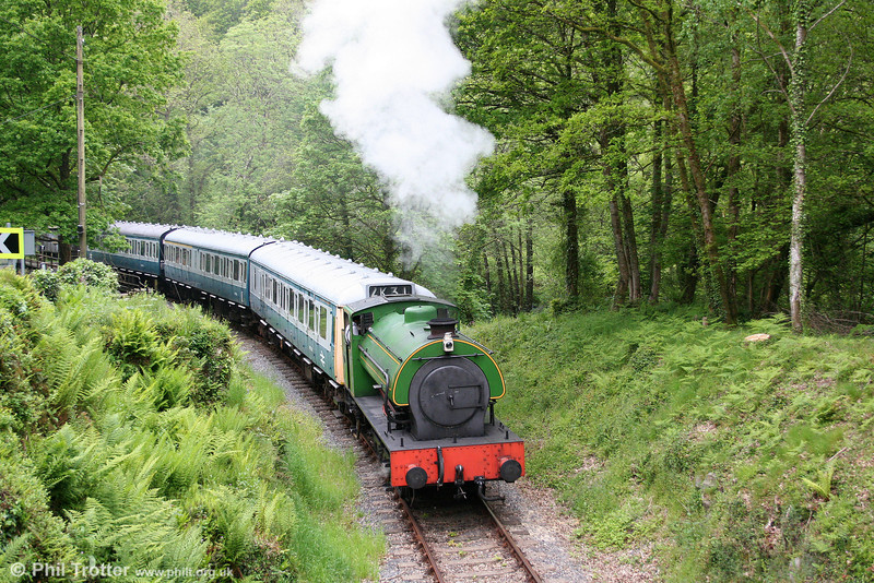 Austerity 0-6-0ST 'Haulwen' hauls the Gwili Railway's Class 117 dmu away from Llwyfan Cerrig, forming the 1215 Danycoed to Bronwydd Arms on 25th May 2009.