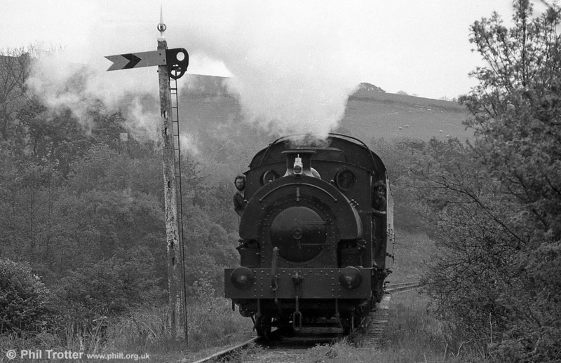 RSH 0-4-0ST 'Olwen' between Bronwydd Arms and Llwyfan Cerrig during the 1988 season.
