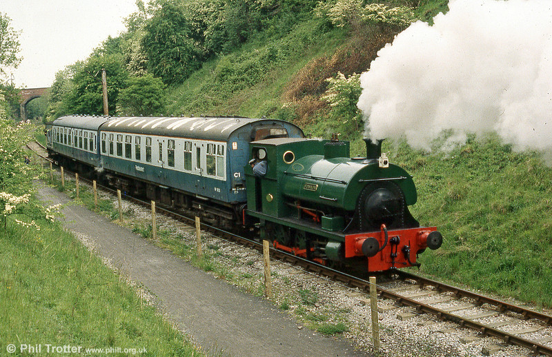 Peckett 0-6-0ST (1636/1924) 'Fonmon' propels its short train back towards Bitton, Avon Valley Railway, Bristol.