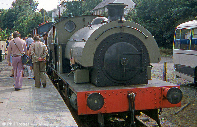 RSH 0-4-0ST (no. 7058/1942) 'Olwen' at Bronwydd Arms, Gwili Railway in August 1978; the loco had been acquired from Earley Power Station, Reading in February of that year.