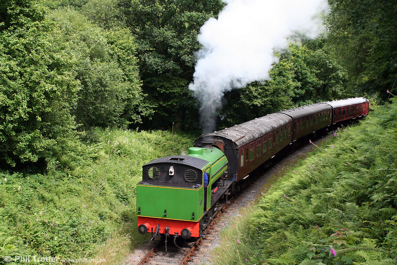 A veteran of NCB Garw and Mountain Ash collieries, Austerity 0-6-0ST 'Haulwen' approaches Llwyfan Cerrig with the 1545 train from Bronwydd Arms to Danycoed on 20th July 2008.