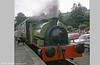 Peckett 0-4-0ST (1967/1939)'Merlin/Myrrdin' waits to leave Bronwydd Arms in 1979.