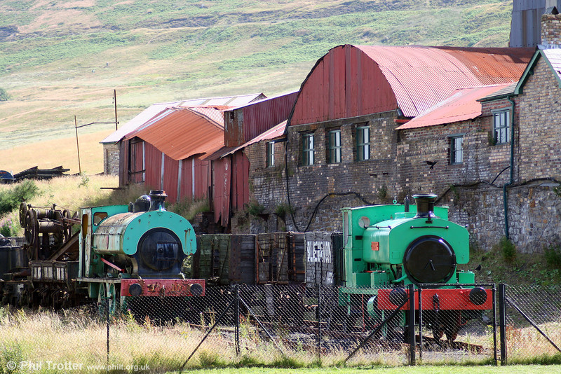 A view of Andrew Barclay 0-4-0ST 'Nora No. 5' and Hudswell Clarke 0-6-0ST 'PD no. 10' at Big Pit, Blaenavon on 26th July 2008.
