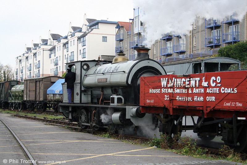 'Portbury' brings its train onto the quayside on 1st November 2008. This is the last remnant of the original Bristol Harbour Railway which opened for freight on 11th March 1872.
