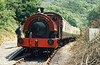 RSH 0-4-0ST (no.7058/1942) 'Olwen' at the Gwili Railway's temporary Penybont terminus in August 1986.