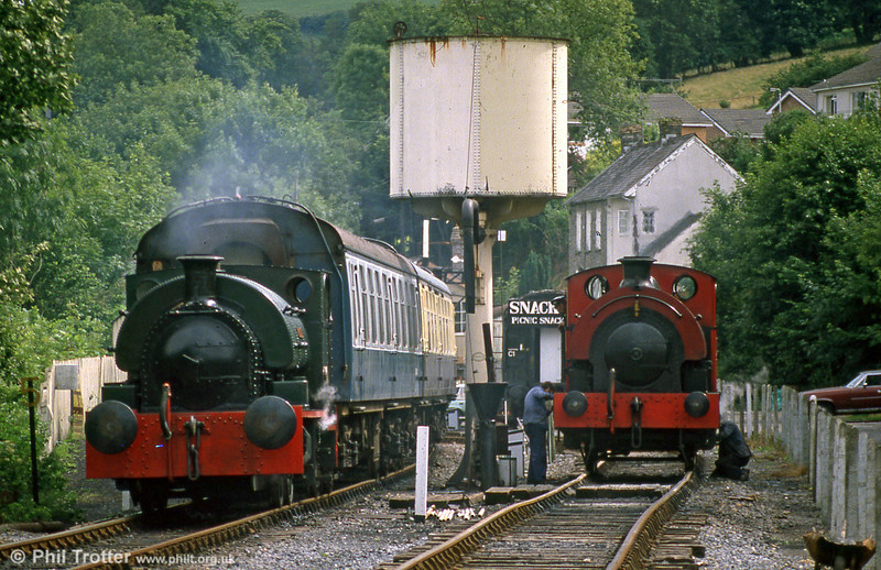 The Gwili Railway's Peckett 0-4-0ST (1967/1939)'Merlin/Myrrdin' and RSH 0-4-0ST (7058/1942) 'Olwen' at Bronwydd Arms in July 1988.
