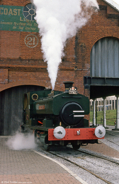 Andrew Barclay 0-4-0ST 'Rosyth No. 1' in steam for a boiler test at Swansea Maritime & Industrial Museum in April 1985.
