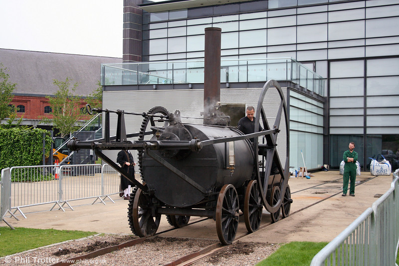 A second view of the replica 1804 Trevithick locomotive of 1981 in steam at the National Waterfront Museum, Swansea on 31st May 2008.