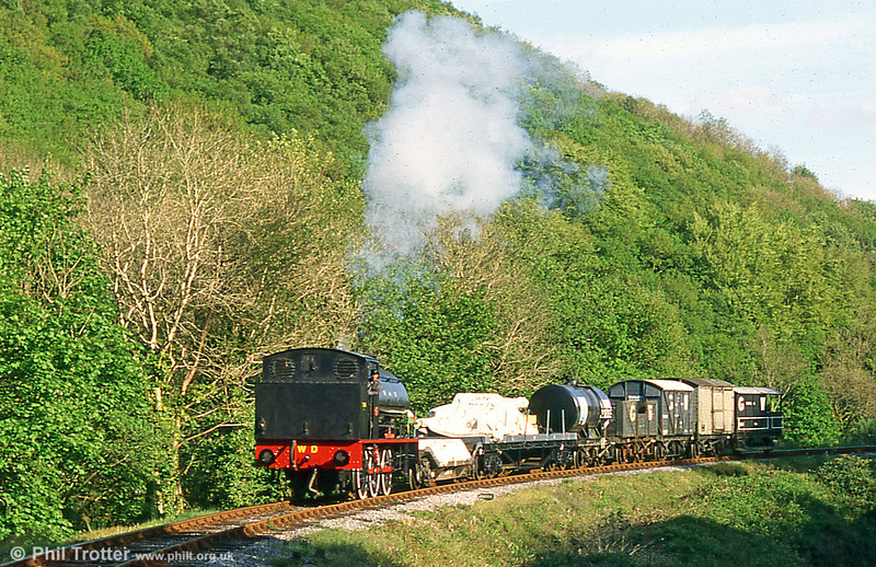 WD 'Austerity' no. 71516 'Welsh Guardsman' at Pentre Morgan with a demonstration freight train in May 1995.