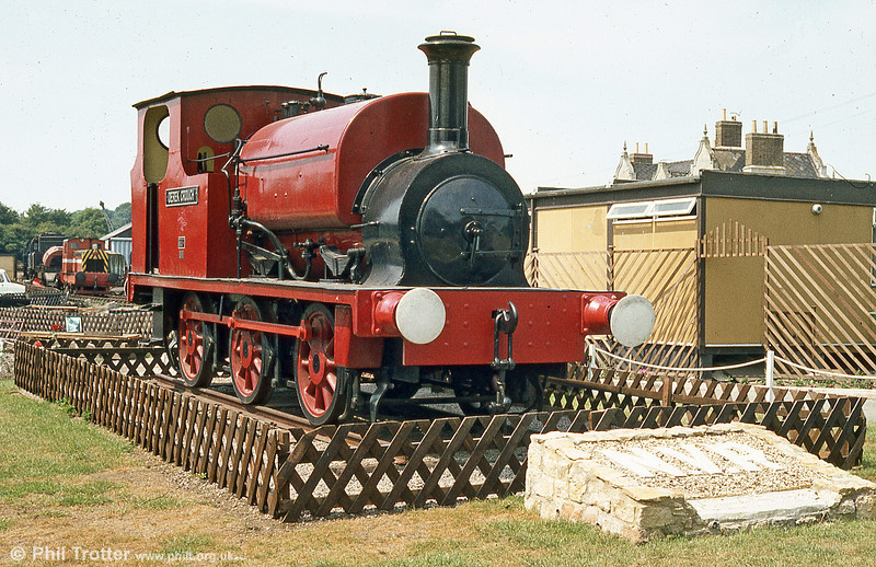 Hudswell Clarke 0-6-0ST (1539/1924) 'Derek Crouch' plinthed at the Nene Valley Railway in July 1984.