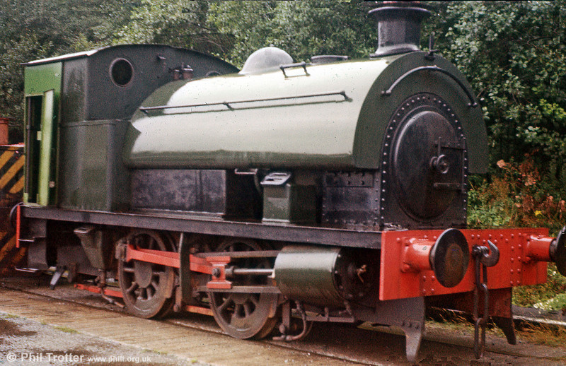 RSH 0-4-0ST no. 7705 of 1952, formerly with Wiggins Teape, Cardiff at Caerphilly on 25th August 1979.