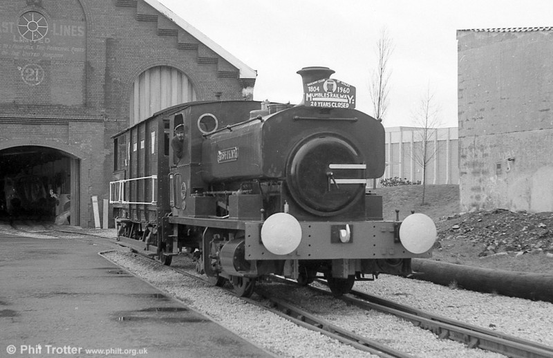 Andrew Barclay 0-4-0ST 'Rosyth No. 1' in steam at the former Swansea Maritime & Industrial Museum in 1980.
