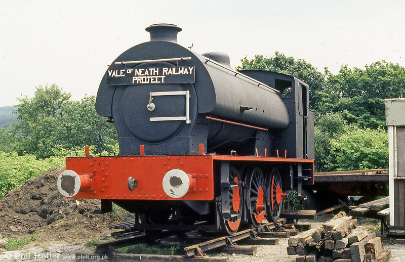 Hunslet Austerity 0-6-0ST (3840/1956) 'Pamela' in store at the premises of the erstwhile Vale of Neath Railway, in August 1986.