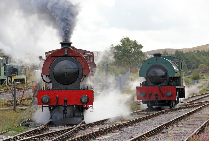 RSH 'Austerity' 0-6-0ST (7169/1944) No.71515 and Peckett 0-6-0ST (2150/1954) 'Mardy Monster' at Furnace Sidings, Pontypool & Blaenavon Railway on 17th September 2011.