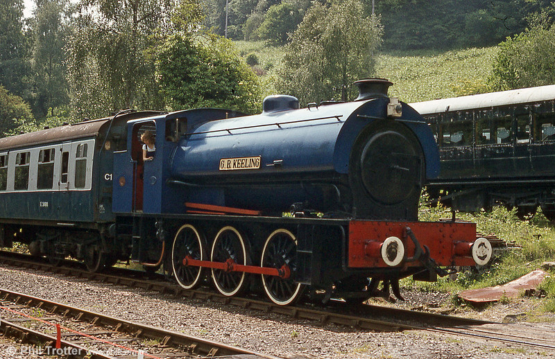 A second look at Hunslet Austerity 0-6-0ST no. 3806/1953 'G. B. Keeling' at Norchard, Dean Forest Railway in June 1987.