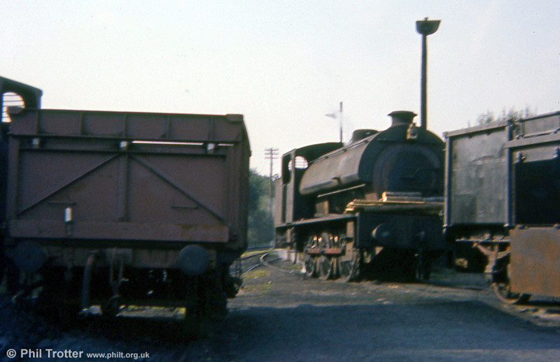Another of the 'Austerity' 0-6-0ST locomotives at Graig Merthyr Colliery on 13th September 1977, complete with firewood ready for lighting up at the beginning of its next shift.
