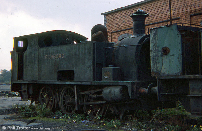 Hudswell Clarke 0-6-0T no. 1243 of 1917, 'Richboro' at Gresford Colliery on 8th October 1975. The loco was later sold for preservation, initially at the Llangollen Railway, but has now returned to steam at the Aln Valley Railway, Northumberland.