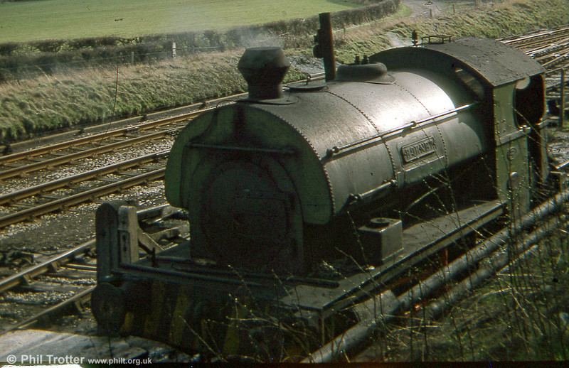 A second view of Peckett 0-4-0ST 'Hornet' at Bersham in March 1978. The loco has been preserved at the Ribble Steam Railway.