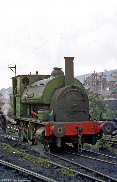 A final look at 'Sir John' in steam at Mountain Ash. The locomotive has been preserved at the Gwili Railway.