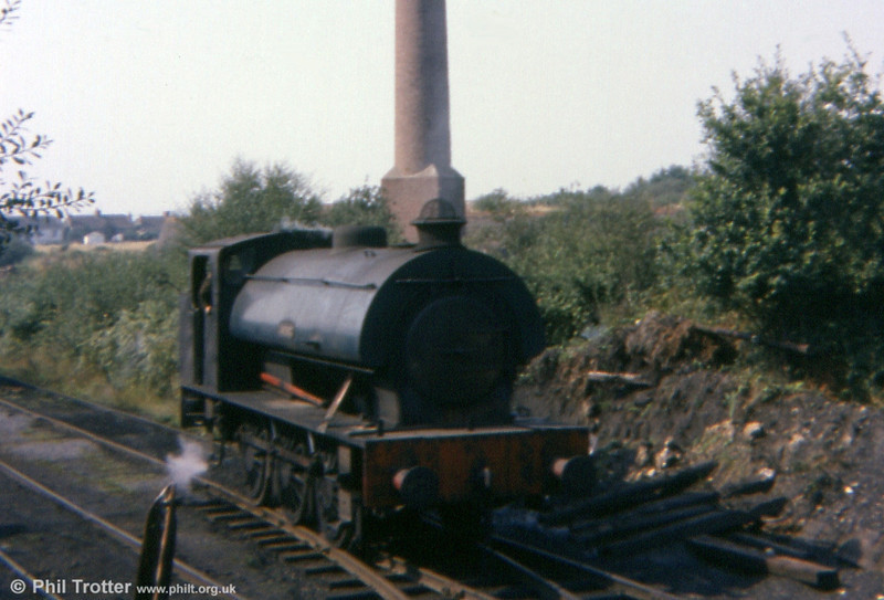 'Norma' heads for the Graig Merthyr Colliery exchange sidings on 13th September 1977. The chimney of the former brickworks is behind the locomotive.