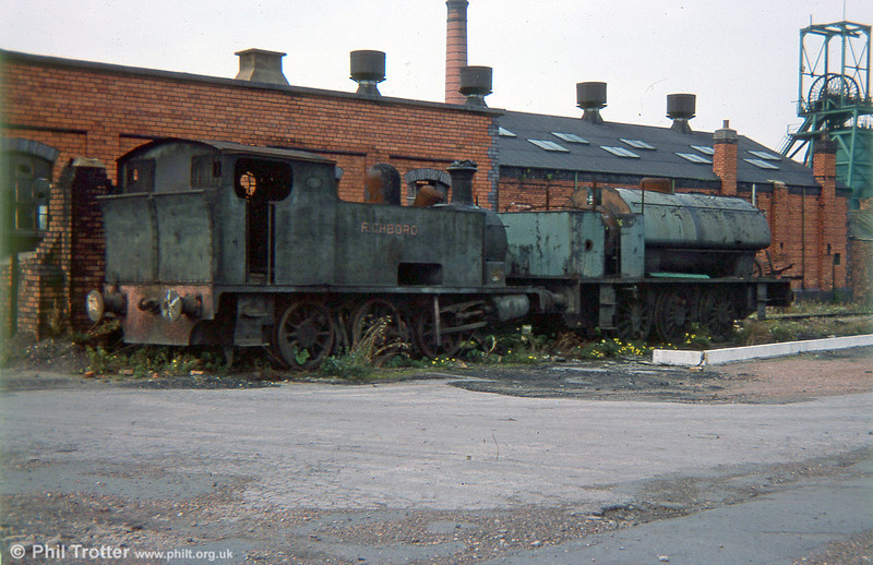 Gresford Colliery, Wrexham, 8th October 1975. The colliery had closed two years earlier due to geological problems, but the remains of two locomotives were still on site. They were Hudswell Clarke 0-6-0T no. 1243 of 1917, 'Richboro' and 'Austerity' 0-6-0ST (Hunslet 3206/1943).
