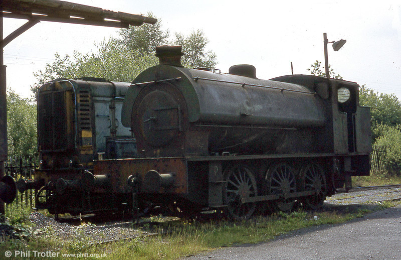 Towards the end of the colliery a BR class '08' diesel shunter was hired after steam had finished. By this time the colliery and the line to it was closed, but the NCB was busy clearing the spoil tips near the exchange sidings.