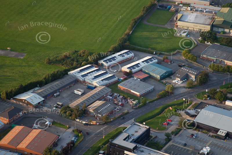 An aerial photo of Northern Road Industrial Estate.