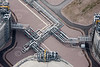 Aerial photography of industrial equipment used in refineries.