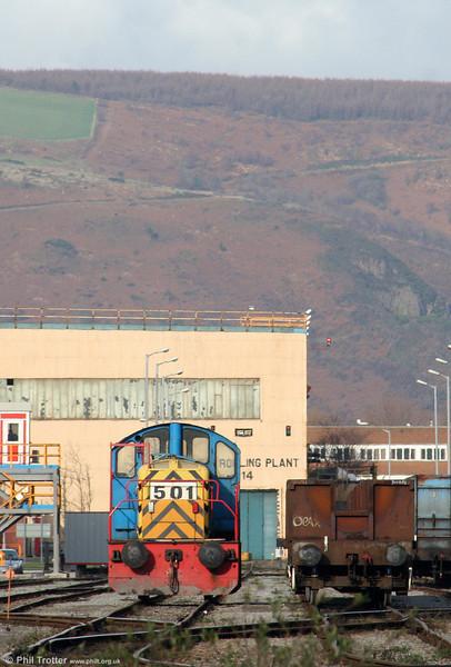 Corus, Port Talbot, Brush Bagnall (3066/1954) 0-4-0DE no. 501 awaits its next job on 28th November 2009.