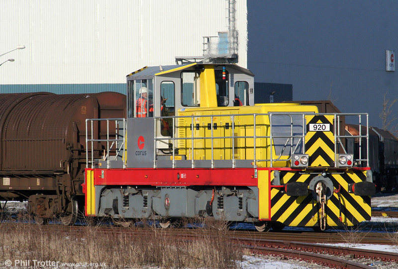 New CNES (Corus Northern Engineering Services) built 100-tonne, 1000hp 'Trojan' locomotive no. 920, of which four are reportedly to be delivered to Corus, Port Talbot. 7th January 2010.
