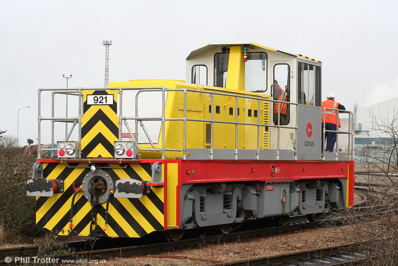 The second of the new CNES (Corus Northern Engineering Services) built 100-tonne, 1000hp 'Trojan' Bo-BoDH locomotives, no. 921 has entered service at Port Talbot. The loco is seen at Margam, Knuckle Yard on 19th March 2010.