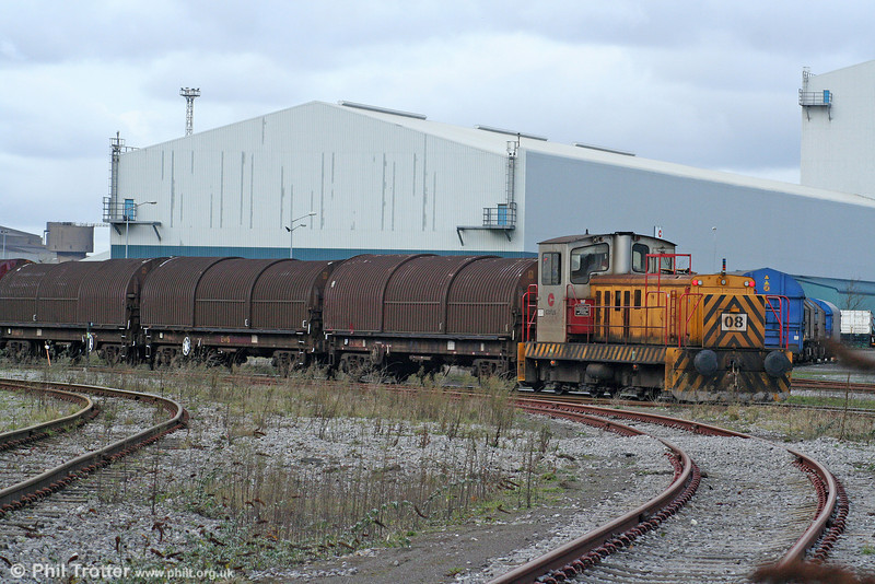 Corus (Port Talbot) 08 shunts at the eastern end of the steelworks on 28th November 2009.