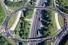Aerial photo of  junction 28 on the M1 Motorway.