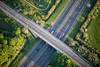 An aerial photo of a road junction.