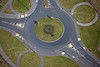 A roundabout with roundabouts from the air.