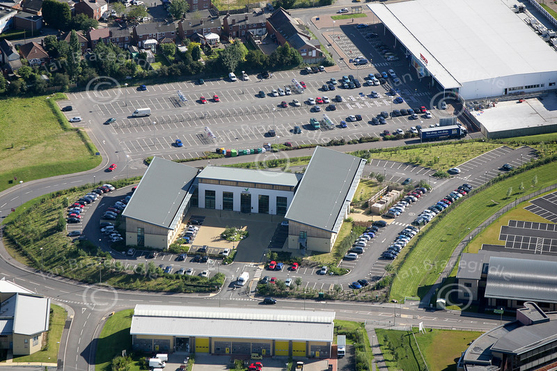 An aerial photo of Sherwood Energy Village in Ollerton, Nottinghamshire. Sherwood Energy Village is built on the site of the former Ollerton Colliery.